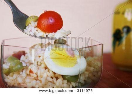 Rice Salad In A Transparent Bowl