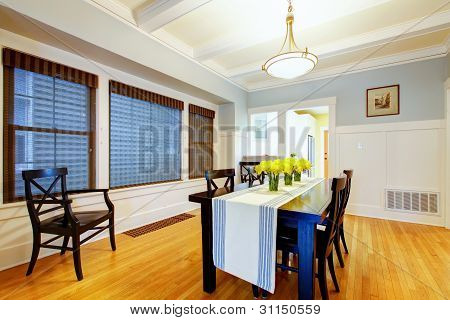 Nice Grey Blue House Dining Room Interior.
