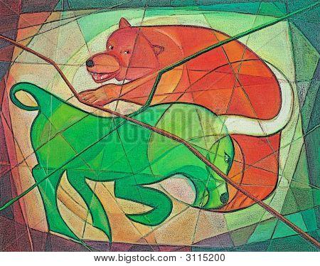 Bull And Bear Stock Market Metaphor