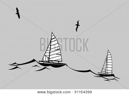 sailfishes silhouette on gray background