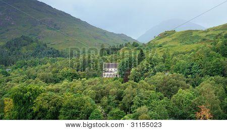 Church Near Glenfinnan In Green Vegetation