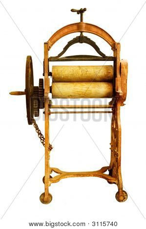 Old Washing Mangle Isolated.