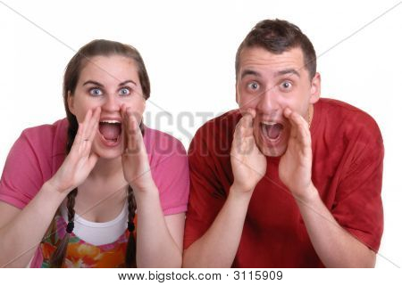 Couple Shouting An Announcement
