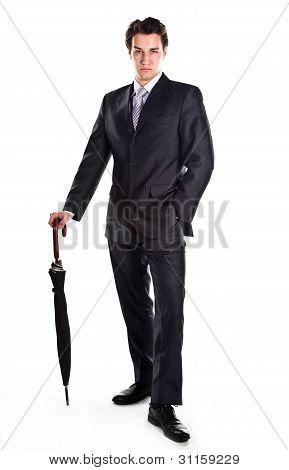 Hombre de negocios con un paraguas