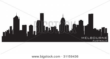 Melbourne, Australia Skyline. Detailed Vector Silhouette