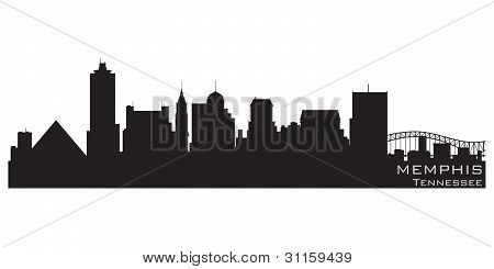 Memphis, Tennessee Skyline. Detailed Vector Silhouette