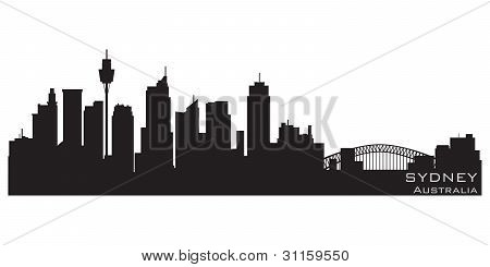 Sydney, Australia Skyline. Detailed Vector Silhouette