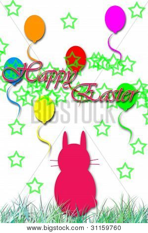 Happy Easter bunny and balloons