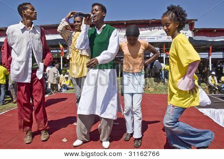 Ethiopian Youth Singing And Dancing On Stage