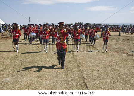 Ceremonial Marching Band Marching At The World Aids Day Event In Fitche