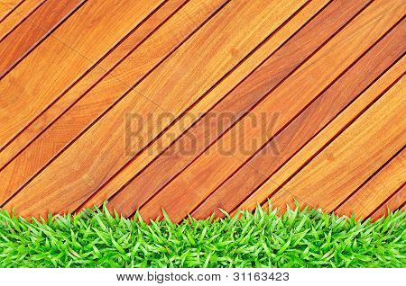 Grass Frame On Wood
