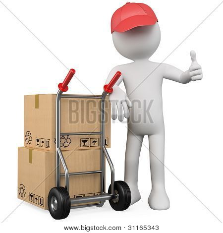 3D Worker With A Package And Thumb Up