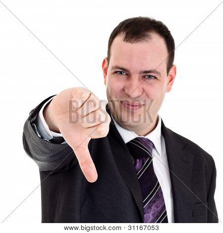 businessman gesturing thumbs down
