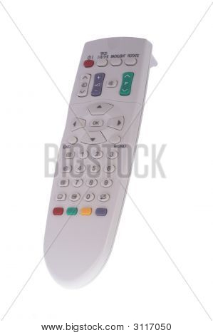 Close Up Of An Universal Remote Control On White Background