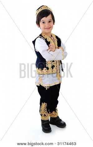 Beautiful middle-eastern child with his arms folded