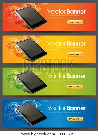 vector website headers, touchpad promotion banners