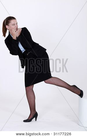 An apprehensive businesswoman