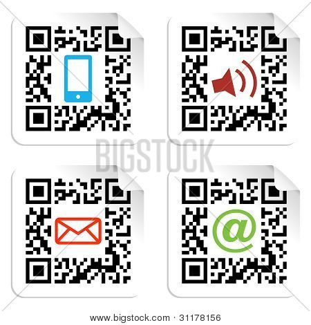 Social Media Icons Set With Qr Code Sign Label.