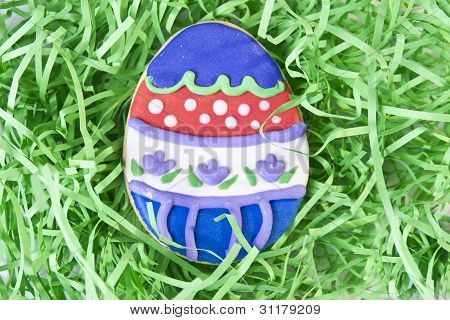 Easter Egg Cookie In Grass