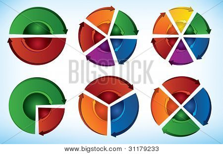 Collection of six Cyclic presentation elements with directional arrows - Jpeg version of vector illustration