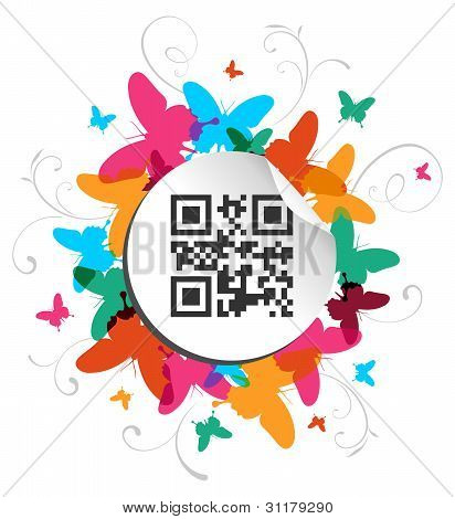 Happy Butterfly Spring Time With Qr Code Label