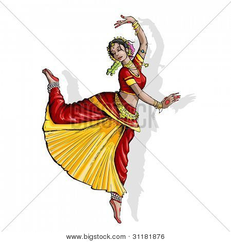 illustration of Indian classical dancer performing bharatnatyam