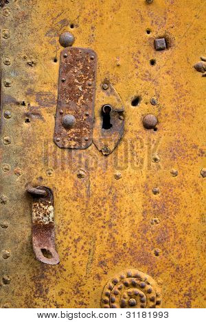 historical metal door rusted