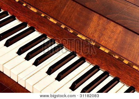 Detail of black and white keys on music keyboard - selective focus