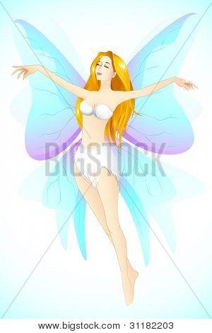 Abbildung der weibliche Engel im Himmel mit Flügeln fliegen