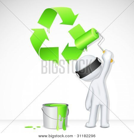 illustration of 3d man in vector fully scalable painting recycle symbol
