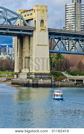 Scenic view at Burrard Bridge from Granville Island, Vancouver, Canada.