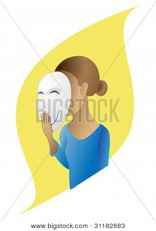 The sad girl with a cheerful mask