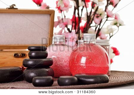 Spa set - aroma salt, oil and organic soap - with mineral stones for spa massage best for relaxing and health commercials