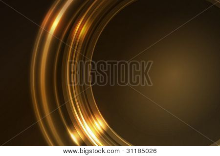 Overlying semitransparent ring segments with light effects form a golden glowing circular frame on dark brown background. Space for your message.