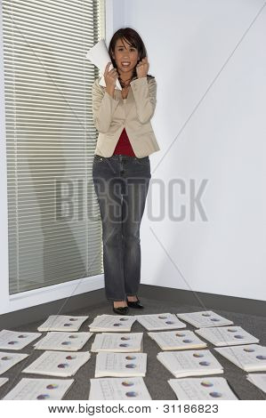Frustrated businesswoman clenching fist