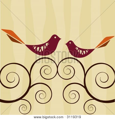 Retro Style Lovebirds On Swirly Vines