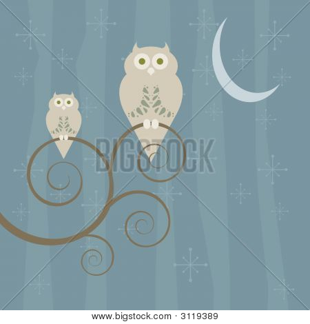 Retro Style Owl Family At Night