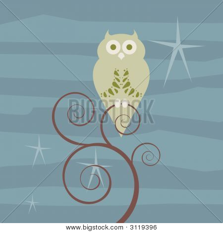 Retro Owl Starry Night
