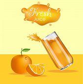 Orange Juice Splash.  Splashes Of Glass Orange. Orange Juice Advertising Realistic Design poster
