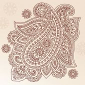 stock photo of henna tattoo  - Henna Paisley Mehndi Doodles Abstract Floral Vector Illustration Design Element - JPG