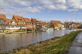 Idyllic Riverside Scenery In Bamberg, A Town In Upper Franconia, Germany poster