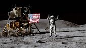 3d Rendering. Astronaut Jumping On The Moon And Saluting The American Flag. Cg Animation. Elements O poster