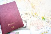 Passport On A Map Of The World. Globe Map On A Background.departure And Arrival Stamp With Visa On T poster