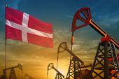 Denmark Oil Industry Concept, Industrial Illustration. Fluttering Denmark Flag And Oil Wells On The  poster