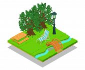 Picturesque Place Concept Banner. Isometric Banner Of Picturesque Place Concept For Web, Giftcard An poster