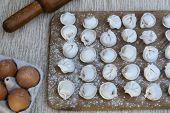 Process Of Cooking Homemade Meat Dumplings. Sculpt Dumplings With Minced Meat. Prepare Homemade Dump poster