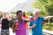 Happy seniors and mature couples exercising with dumbbells. Healthy multiethnic people exercising us poster