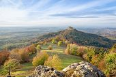 Autumn Landscape With Zoller Mountain - An Isolated Promontory Of The Swabian Jura Where Located Hil poster