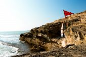 Panning Shot From A Hindu Temple Nestled In A Cliff Overlooking The Arabian Sea In Diu Gujarat India poster