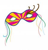 picture of mardi gras mask  - A mardi gras mask illustrated with striking colors and shapes - JPG